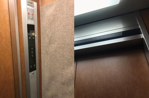 旧:カゴ内操作盤(左)・位置表示板(右)
