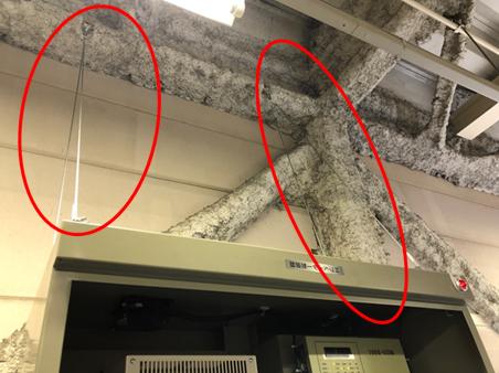 耐震対策:制御盤転倒防止 ※地震時に制御盤が転倒する事を防止します。