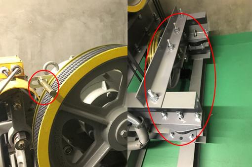 耐震対策(左:ワイヤーロープ外れ止め、右:ダブルナット止め)